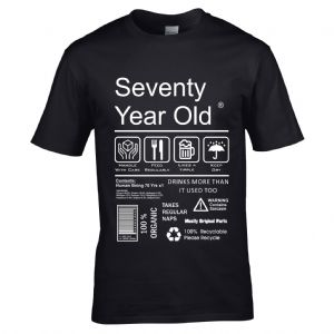 Premium Funny 70 Year Old Package Care Label Instructions Motif  70th Birthday Men's T-shirt Top
